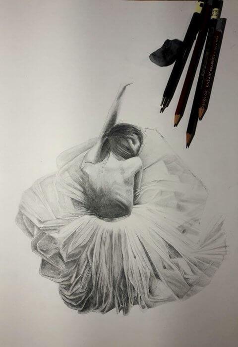Baletka – kresba tužkou